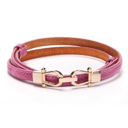 Wholesale Thin White Leather Belt - New Arrival 2016 Crown Creative Design Embossed Snake Leather Thin Belt Buckle Ladies Women Fashion Waistband 8 Colors