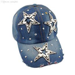 Wholesale Union Hats - Wholesale-2015 Hot Adjustable Star Pattern Hat Fashion Jeans Accessories Rhinestones Union Jack Vintage Women Baseball Caps H027