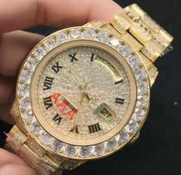 Wholesale Watches Hours Men - Top Brand Swiss Luxury President Day Date Fashion 18K Upgrade Gold Men Watches Roman Diamond Bezel Dial Full Diamond Strap Hours Wristwatch