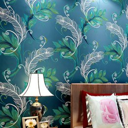Wholesale Decorative Wallpaper Meters - 3d Modern Chinese Style Thicken Non-woven Fabric Wallpaper Peacock Feather 3D Stereo Living Room TV Background Decorative Wallpaper