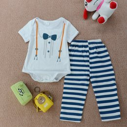 boys preppy suits Promo Codes - England Style Boy Outfit Romper Pants Hat Suit Kid Clothing Preppy Toddler 3PCs Wholesale Clothes Fake Suspenders Bowtie Adorable Boys 6-24M