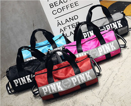 Wholesale Fabric Clothes - Pink Letter Handbags Travel Bags Beach Bag Duffle Striped Shoulder Bags Large Capacity Waterproof Fitness Yoga Bags