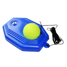 Wholesale single rope - Rubber Tennis Training Tool Single Practice Tennis Ball Trainers Rebound Balls Device (with Rope Ball)