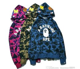 Wholesale Women Camo Shorts - 2018 Europe and the United States on the streets of ape Kanye MA1 tide brand ape shark head Camo hoodies. Men and women couples dress