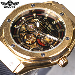 Wholesale Winner Skeleton Silver Automatic - Winner Golden Metal Men Watches Top Brand Luxury Automatic Watch Luxury Mechanical Skeleton Male Rubber Band Wristwatches SLZa90