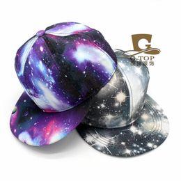 Wholesale Galaxy Costume - Wholesale-NEW Starry Galaxy Sky Neon Pattern Flatbill Snapback Adjust Baseball Cap Hat