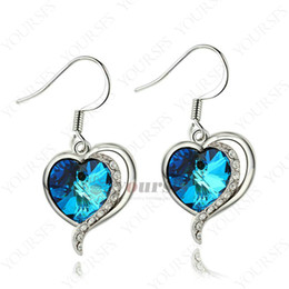 Wholesale gorgeous wedding jewelry - Yoursfs Gorgeous Noble Heart of the Ocean Precious Earrings 18 k Gold Plated Bridal Statement Dangle Earrings For Women Wedding Gift Jewelry
