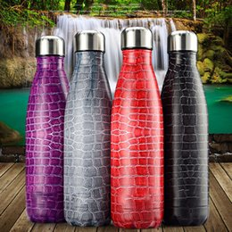 Wholesale Sport Water Bottle Stainless Steel - 500Ml Vacuum Water Bottle Stainless Steel Bottle Thermos Crocodile Lines Pattern For Outdoor Indoor Sports Hiking Running Yoga Travel