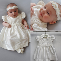 Wholesale Navy Baby Hair - Lace Applique Communion Dresses With Free Hair Band Short Sleeves Christening Gowns For Baby Beads Bow First Communion Dress