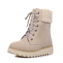Wholesale Size 33 Boots - Women Boots Snow Warm Winter Boots Botas Mujer Lace Up Fur Half Short Boots Ladies Winter Shoes woman footwear Size 33-43