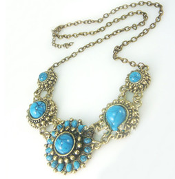 Wholesale Beaded Jewelry Prices - 2016 vintage blue Swiss diamond pendant sunflower necklace women fashion jewelry wholesale price 8pcs lot Free shipping