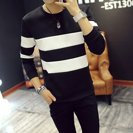 Wholesale mens long sleeve casual shirts - 2017 New Autumn Winter Mens Long Sleeve T-Shirt O Neck Striped T Shirt for Men Casual Cotton Tee Shirt Brand Tops Tees