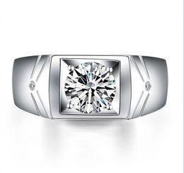 toque para homens ct Desconto 1.25 CT Rodada Halo Anel de Casamento Dos Homens de Prata 925 Anéis Para Homens Banhado A Ouro 18 K Channel Set Cz Homem Anel De Diamante