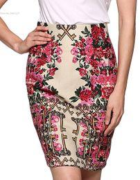 Wholesale Retro Floral - Faldas Mujer Elegant Women Retro Floral Package Hip Slim High Waist Slit Office Midi Pencil Skirt Jupe Saias Das Mulheres