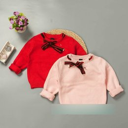 Wholesale Girl Lace Sweater - Baby Kids sweater autumn new girls lace-up Bows knitting pullover children round collar princess tops toddlers long sleeev sweater A00066
