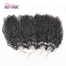Wholesale Micro Nano Rings - Discount Best Kinky Curly Nano Ring Human Hair Extensions 1g Indian Remy Hair Micro Loop Hair Extension Natural Black Deep Wave 100beads