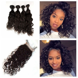 2019 virgin indian straight hair jet black 4 Faisceaux Avec Fermeture Péruvienne Vague D'eau Cheveux Gratuit Moyen Trois Partie Dentelle Fermeture Avec Cheveux Weave 5 pcslot G-EASY