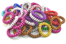 Wholesale Hair Elastic Phone - Lots 10PCS Fabric Telephone Wire Hair Band Wrapped Cloth Ponytail Holder Elastic Phone Cord Line Hair Tie Hair Accessories