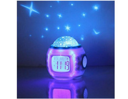 Wholesale Led Clocks For Sale - Beautiful Music Starry Projection Children Room Sky Star Night Light Projector Lamp Bedroom Alarm Clock W music For Child Gift Hot Sale Free