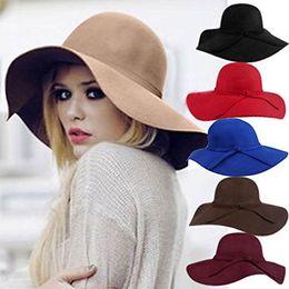 Wholesale Military Feel - Vintage Women Ladies Wide Brim Floppy Warm Wool Blend Felt Hat Trilby Bowler Cap brim hat party wedding hats Fashion hat Sun Hats