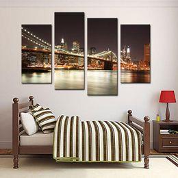 2019 décorations de pont Amesi Toile Peinture Huile Impression La Scène De Nuit De Manhattan Grand Pont Paysage Peintures À L'huile Décoration décorations de pont pas cher