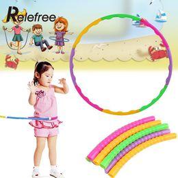 Gymnastik zubehör online-Großhandel - Relefree Universal 65cm Hula Hoop Kunststoff Bunte Kinder Kinder Sport Aerobic Gymnastic Einstellbare Sport Zubehör
