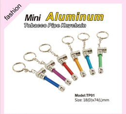 Wholesale Tobacco Keychain Pipe Wholesale - Creative Smoking Pipes Accessories Tools Mini Smoke metal Cigarette Dry Herbal Aluminum tobacco keychain pipe 6colors 74mm length