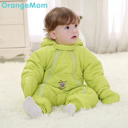 Wholesale Baby Girls Snowsuits - Wholesale-Free shipping ! Newborn baby winter romper baby born thermal overalls cotton-padding jacket baby winter snowsuits , girl winter
