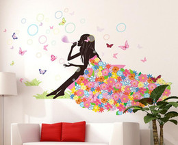 Wholesale self adhesive flower large - Flower Girl Butterfly Home Decal Fairies Wall Stickers Bedroom Sofa Background Decor Girls Lady room window DIY art