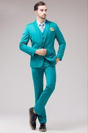 Wholesale Turquoise Blue Clothes - Sunshine Energetic Back Vent Turquoise Groom Tuxedos Notched Lapel Slim Fit Men's Wedding Dress Holiday Prom Clothing(Jacket+pants+Vest)