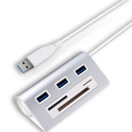 Wholesale Cf Support - Acasis Aluminum USB 3.0 Hub + Card reader 5Gpbs HUB Splitter Adapter USB3.0 Card reader Support SD, Micro SD TF, CF card