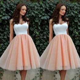 Wholesale Spaghetti Strap Skirt Top - 2016 New Cheap Homecoming Dressed Short Prom Dresses Tea Length Two Tone White Top Sweetheart Neck with Straps Tulle Skirt Party Gowns