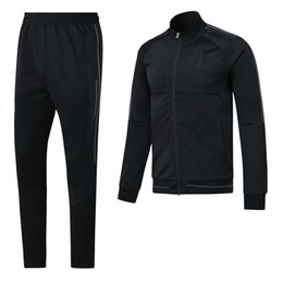 Wholesale Long Spring Sweaters - ^_^ Wholesales 17 18 madrid black spring soccer tracksuit AAA quality long sleeve Training suit pants training clothes Sweater
