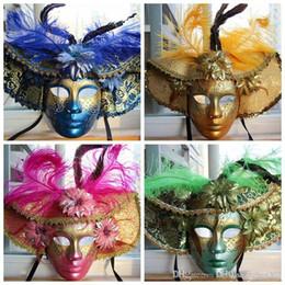 2019 rote federmasken 2016 Ostern Maskerade Karneval Farbe Feder Maske / Rot Blau Grün Gelb Luxus handbemalte Venetian Gehobenen Vollgesichtsmaske günstig rote federmasken