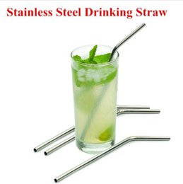 Wholesale Wholesale Bar Cleaning Brushes - Newest Kitchen Bar Accessories 4 Pcs Stainless Straws With 1 Cleaner Brush Metal Drinking Straw Stainless Steel Bend and straight straws