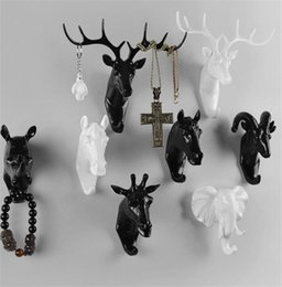 Wholesale Ornament Hangers - Pure color black white gold animal head hook resin craft key cap clothes claw 3D animal Mural decorative hook ornament hanger