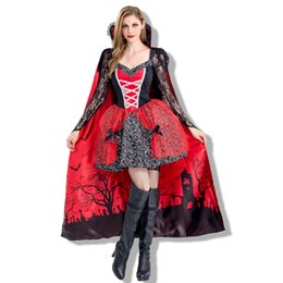 Wholesale Full Chiffon Skirt - 2017 Halloween Girl Black and Red Cloak Skirt Vampire Costume Hot Sales Theme Anime Role Play Clothing