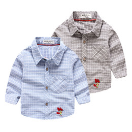 Wholesale Kids Cartoon Embroidery - New 2016 Fall spring Kids clothes plaid casual shirts Embroidery cartoon Little children Tops 2-7 years clothing wholesale Brand quality