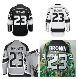 Wholesale Hockey Jerseys La 23 - Los Angeles Kings Hockey Jersey LA Dustin Brown Jerseys 23 Black White Grey Green 2014 Stanley Cup Final Patch Champions Stadium