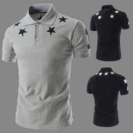 Wholesale Men White Shirt Korean Fashion - Summer Korean Fashion Men Designer Label Tee shirts Pentacle Printing Short Sleeve Slim T Shirts For Men Youth T-shirt