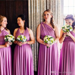 Vestido de dama de honor convertible púrpura online-En oferta Vestidos de dama de honor estilo convertible a medida Púrpura Spandex largo palabra de longitud Vestidos de invitados de boda Vestidos de fiesta de noche