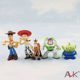 Wholesale Cute Aliens - Super Cute Kids Baby Toy Story Figure PVC Woody Buzz Jessie Bulleye Alien Toy Figures 5pcs set Kids Gift Present