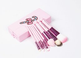 Wholesale Wholesale Kids Makeup - Fast Ship Pink Hello Kitty Makeup Brushes Set 8PCS Professional Cosmetics Mini Make Up Brushes kit kids makeup brushes With mirror Metal Box