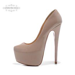Wholesale High Heels Sexy Size 41 - Size 35-41 Women's 16cm High Heels Beige Patent Leather Sexy Red Bottom Platform Pumps, Ladies Luxury Brand Fashion Wedding Dress Shoes