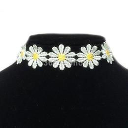 Wholesale Flower Chain Tattoos - Yellow White Fashion Daisy Flower Choker Chain Necklace Bracelet Headband Boho Beautiful Tattoo Choker Necklace