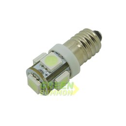 Wholesale Yellow Led Screw Bulbs - E10 5-5050 SMD LED Warm White Lights Bulb MES SCREW TORCH HEADLAMPS