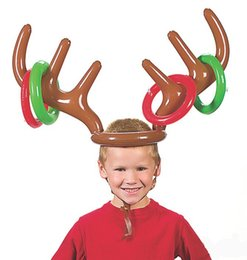Wholesale Santa Reindeer Antlers - Inflatable Santa Funny Reindeer Antler Hat Ring Toss Christmas Party Supplies Toys for Children Kids Adults