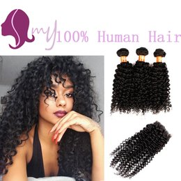 Wholesale Brazilian Natural Wave Hair Ombre - 8A Brazilian Virgin Hair With Top Lace Closure 3 Bundles Human Hair With Closure Deep Curly Rosa Hair Products With Closure