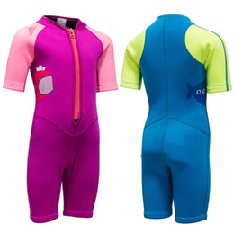 Wholesale Wetsuit Swimsuit - 2MM Neoprene Wetsuit Swimsuit Kids Baby Girls Boys Wetsuits Short Sleeve One Piece Diving Suits Wholesale Dropshipping