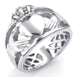 Wholesale Hug Rings - 071398-Wholesale Mens Womens Stainless Steel Ring, Claddagh Hugs heart Crown Wedding Band, Silver Size 6-15